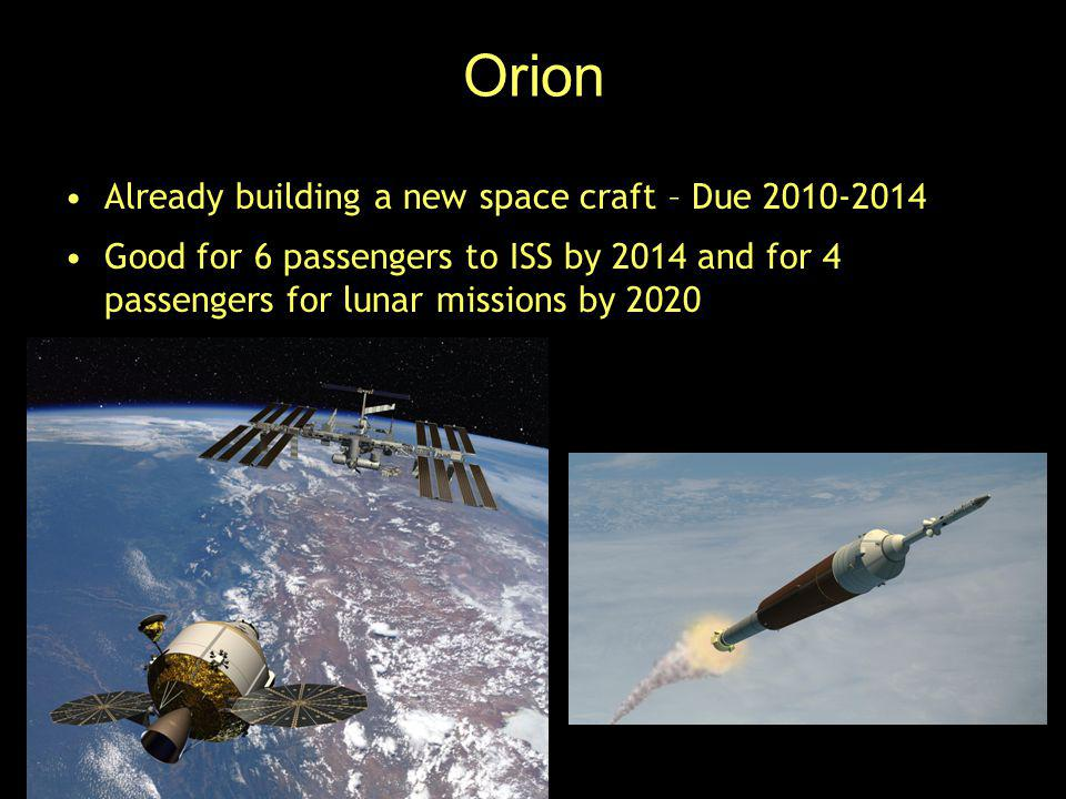 Orion Already building a new space craft – Due 2010-2014 Good for 6 passengers to ISS by 2014 and for 4 passengers for lunar missions by 2020