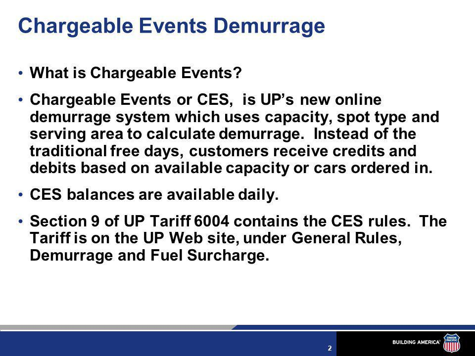 3 Chargeable Events Demurrage Arrival Credit = Two credits are issued for each car arriving the Serving Area.