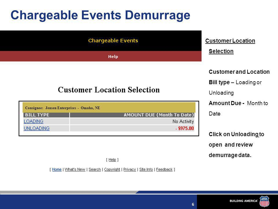 7 The Status Today Tab contains links with current data about your facility's demurrage status.