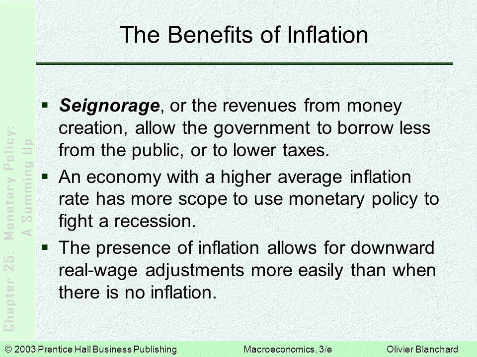 © 2003 Prentice Hall Business PublishingMacroeconomics, 3/e Olivier Blanchard The Optimal Inflation Rate: The Current Debate  Those who aim for small but positive inflation argue that some of the costs of positive inflation can be avoided, and the benefits are worth keeping.