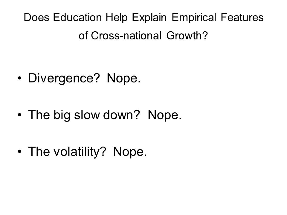 Interest in the question The 'first generation' growth regressions (e.g.