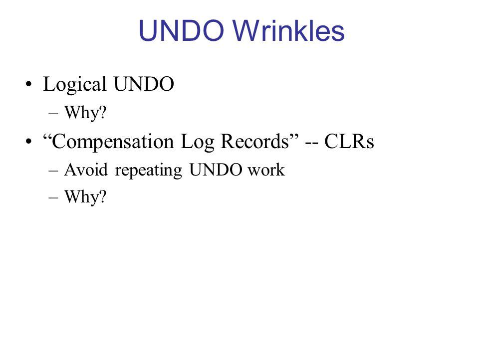 UNDO Wrinkles Logical UNDO –Why.