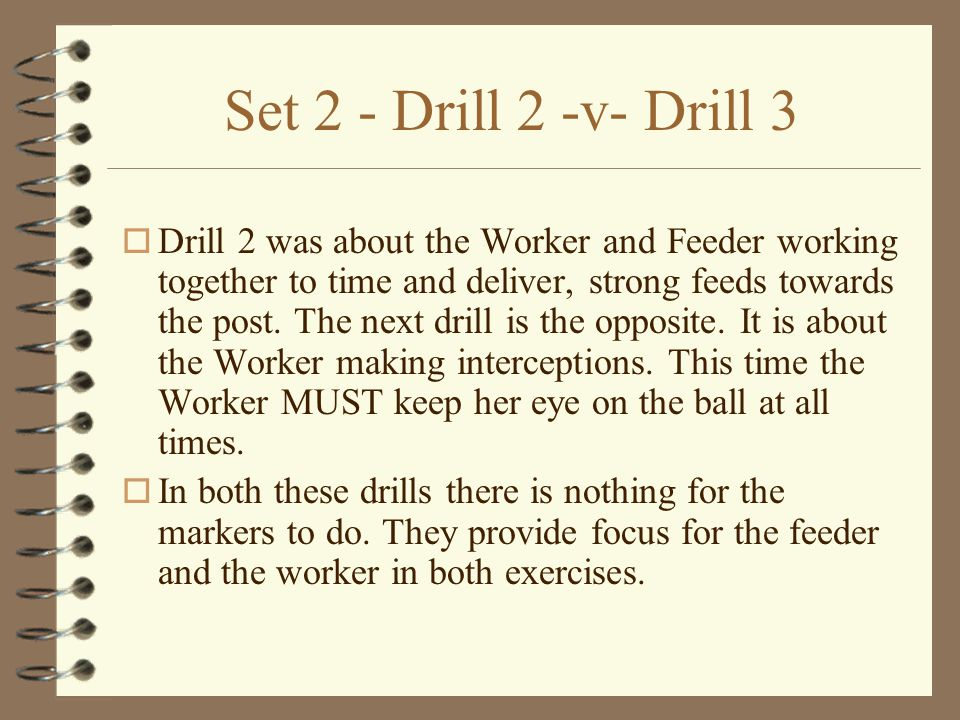 Set 2 - Drill 2 o Two static markers (M1 and M2) stand about 3 metres apart.