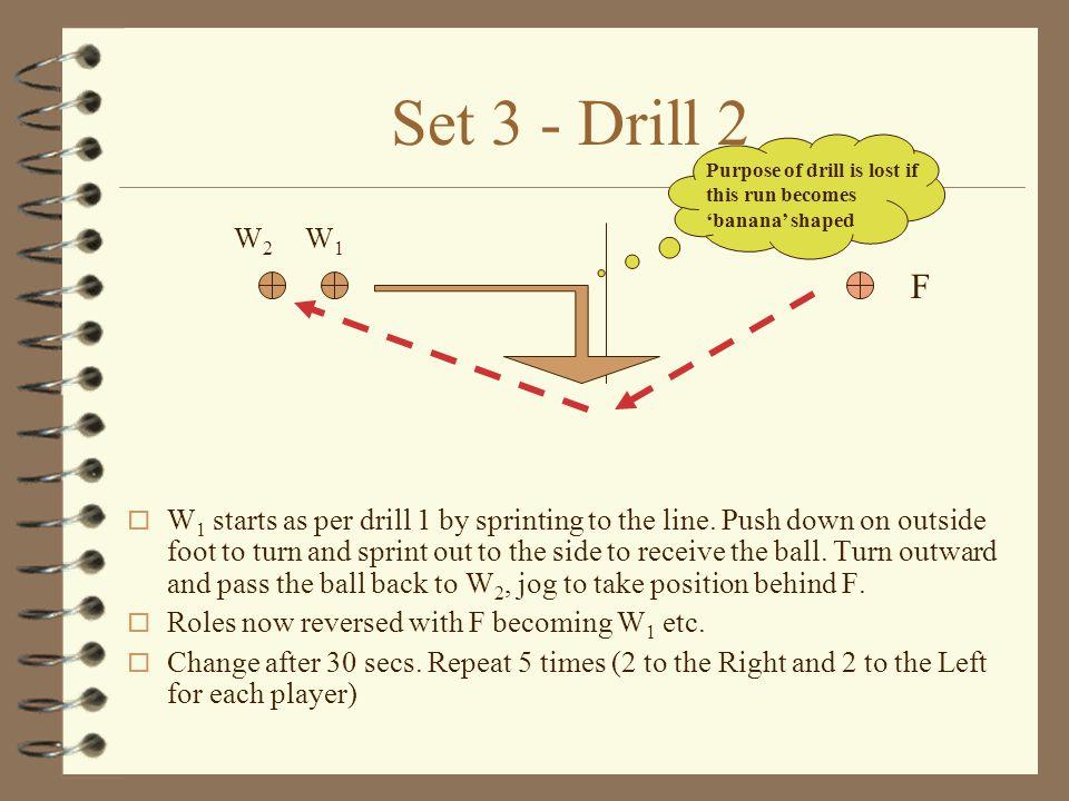 Set 3 - Drill 1 o Feeder (F) stands, 4 feet behind a convenient line marking.