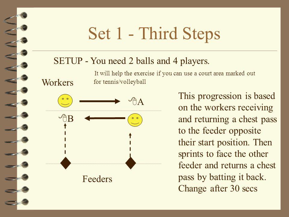 Set 1 - Second Steps SETUP - You need 2 balls and 3 players.