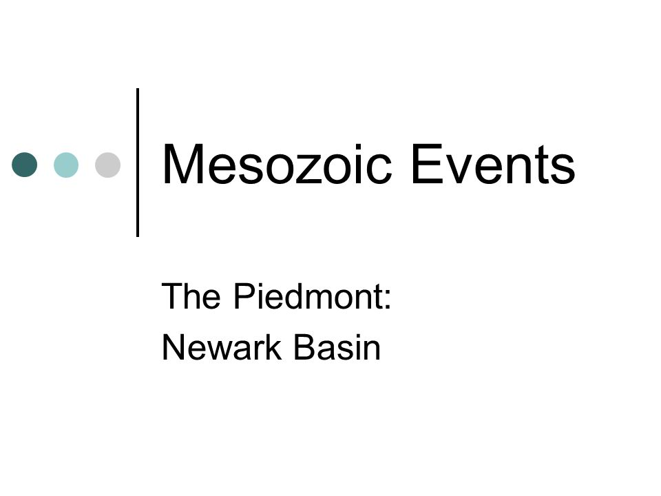 Mesozoic Events The Piedmont: Newark Basin