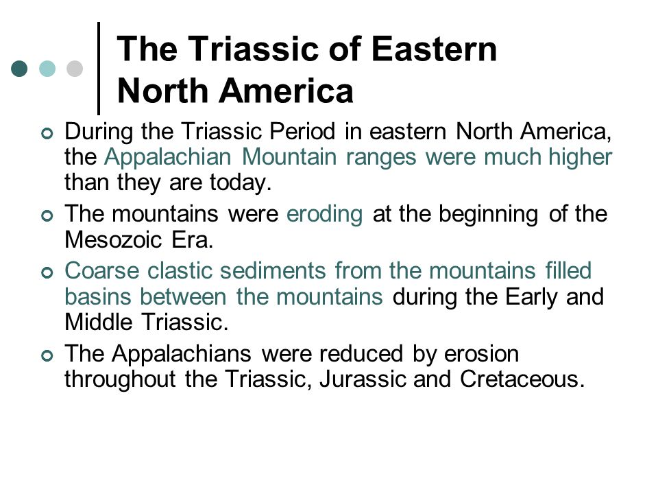 The Triassic of Eastern North America During the Triassic Period in eastern North America, the Appalachian Mountain ranges were much higher than they are today.