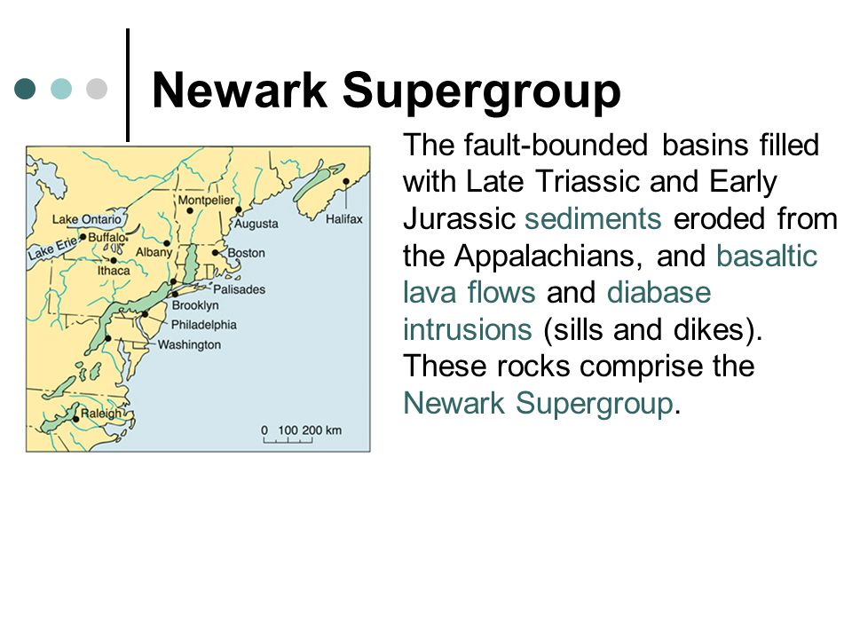 Newark Supergroup The fault-bounded basins filled with Late Triassic and Early Jurassic sediments eroded from the Appalachians, and basaltic lava flows and diabase intrusions (sills and dikes).