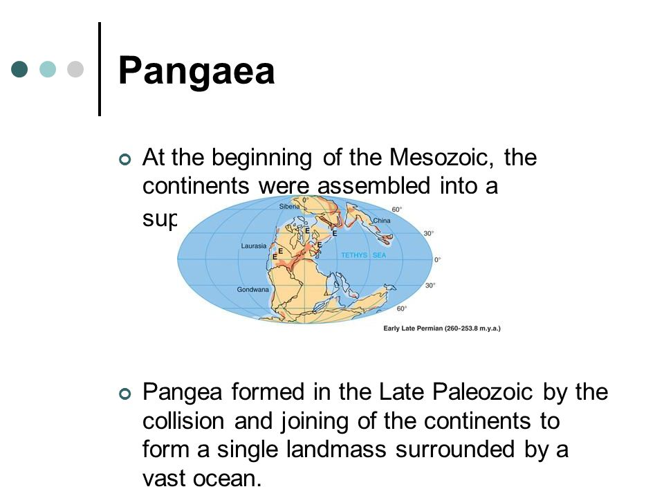 Pangaea In the equatorial area to the east, between Africa and Europe, and between India and Asia, was an embayment called the Tethys Sea.