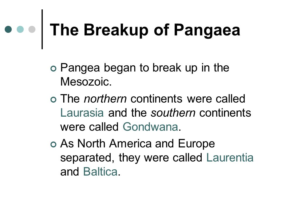 The Breakup of Pangaea Pangea began to break up in the Mesozoic.