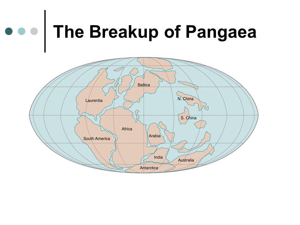 The breakup occurred in four stages: Stage 1: Rifting and volcanism along normal faults in the Triassic, resulting in the separation of North America (Laurasia) from Gondwanaland.