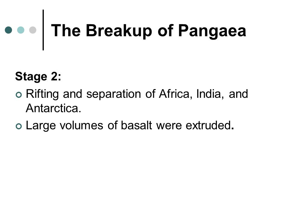 The Breakup of Pangaea Stage 2: Rifting and separation of Africa, India, and Antarctica.