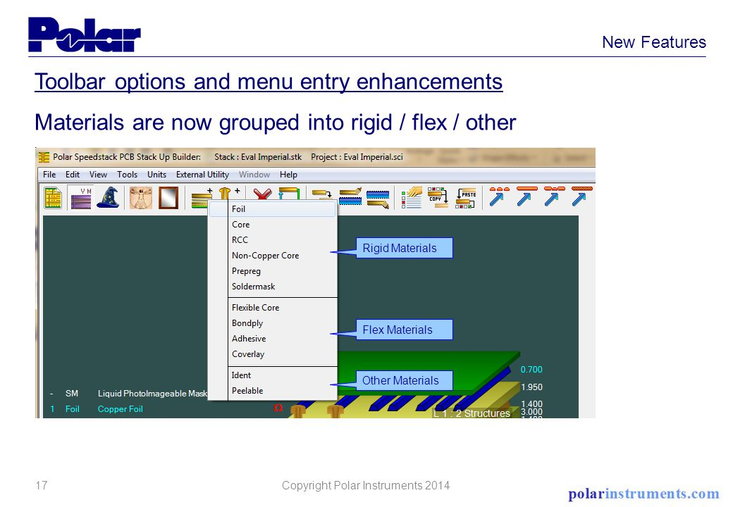 17 New Features Toolbar options and menu entry enhancements Materials are now grouped into rigid / flex / other Rigid Materials Other Materials Flex Materials Copyright Polar Instruments 2014
