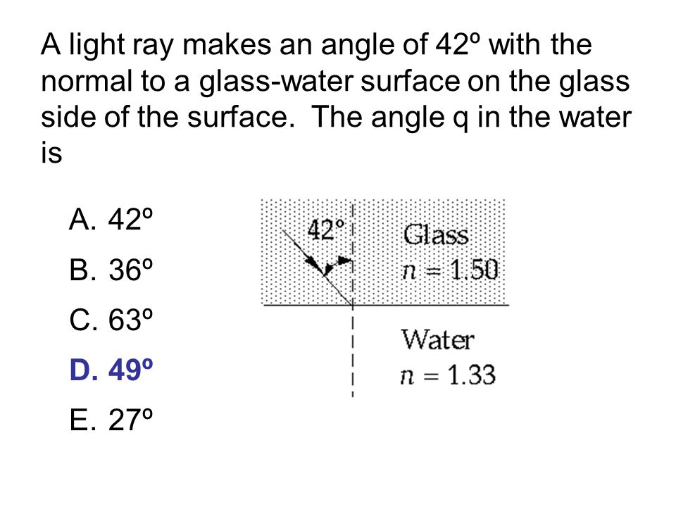A light ray makes an angle of 42º with the normal to a glass-water surface on the glass side of the surface.