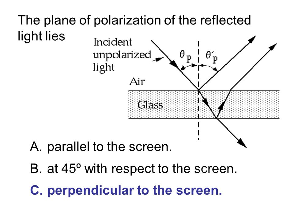 The plane of polarization of the reflected light lies A.parallel to the screen.