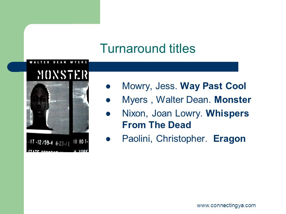 www.connectingya.com Turnaround titles Mowry, Jess.