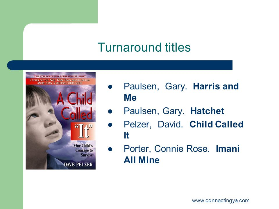 www.connectingya.com Turnaround titles Paulsen, Gary.
