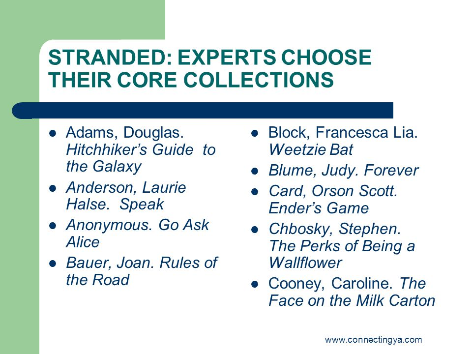 www.connectingya.com STRANDED: EXPERTS CHOOSE THEIR CORE COLLECTIONS Adams, Douglas.