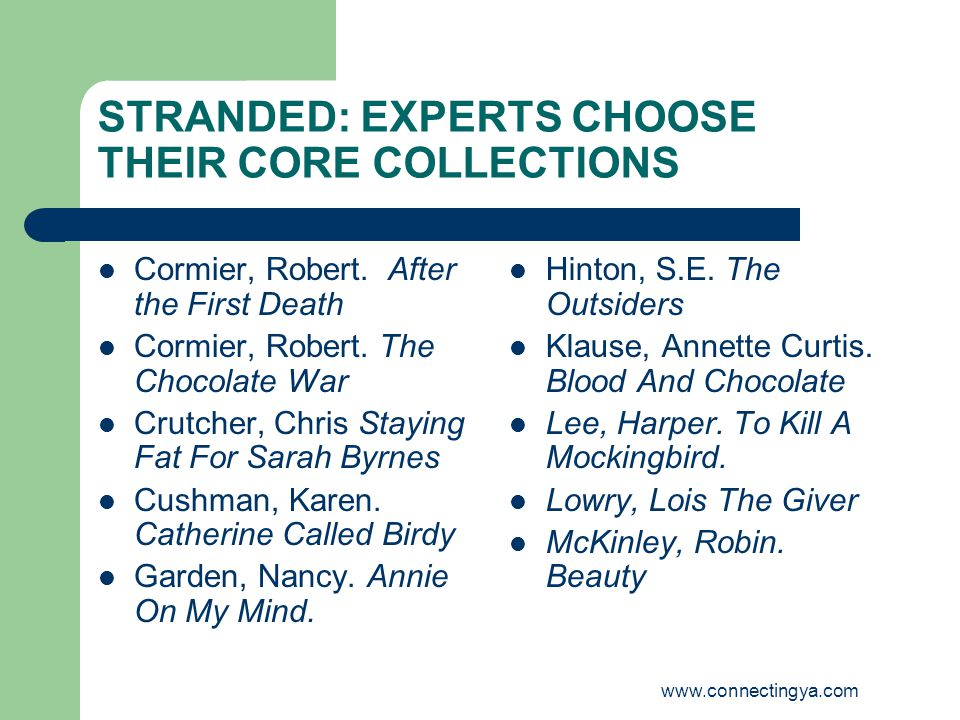 www.connectingya.com STRANDED: EXPERTS CHOOSE THEIR CORE COLLECTIONS Cormier, Robert.