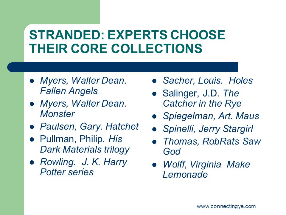 www.connectingya.com STRANDED: EXPERTS CHOOSE THEIR CORE COLLECTIONS Myers, Walter Dean.