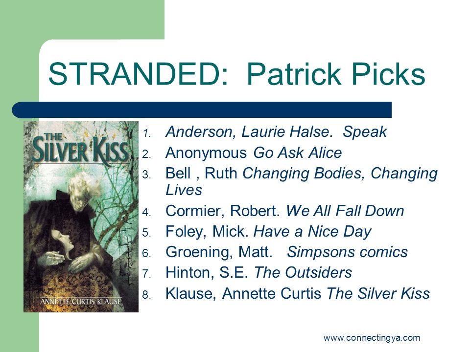 www.connectingya.com STRANDED: Patrick Picks 9.Moore, Alan Watchman 10.
