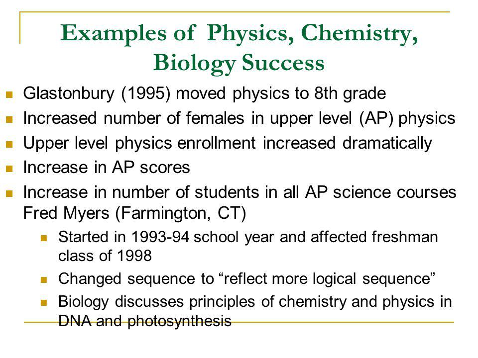 Examples of Physics, Chemistry, Biology Success Glastonbury (1995) moved physics to 8th grade Increased number of females in upper level (AP) physics Upper level physics enrollment increased dramatically Increase in AP scores Increase in number of students in all AP science courses Fred Myers (Farmington, CT) Started in 1993-94 school year and affected freshman class of 1998 Changed sequence to reflect more logical sequence Biology discusses principles of chemistry and physics in DNA and photosynthesis