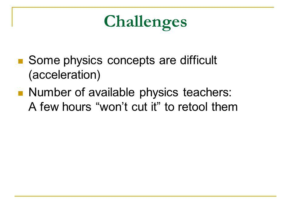 Challenges Some physics concepts are difficult (acceleration) Number of available physics teachers: A few hours won't cut it to retool them