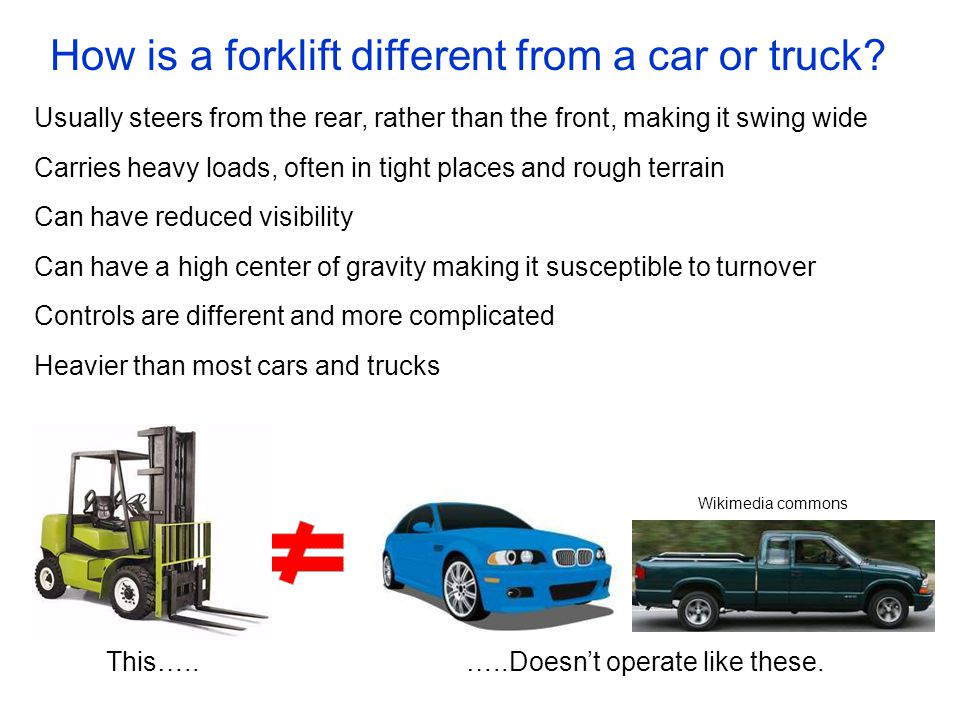 How is a forklift different from a car or truck? Usually steers from the rear, rather than the front, making it swing wide Carries heavy loads, often