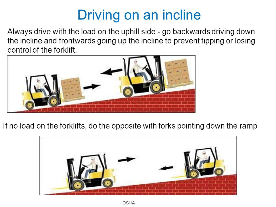 Driving on an incline Always drive with the load on the uphill side - go backwards driving down the incline and frontwards going up the incline to pre