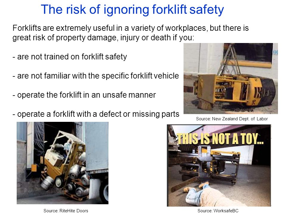 The risk of ignoring forklift safety Forklifts are extremely useful in a variety of workplaces, but there is great risk of property damage, injury or