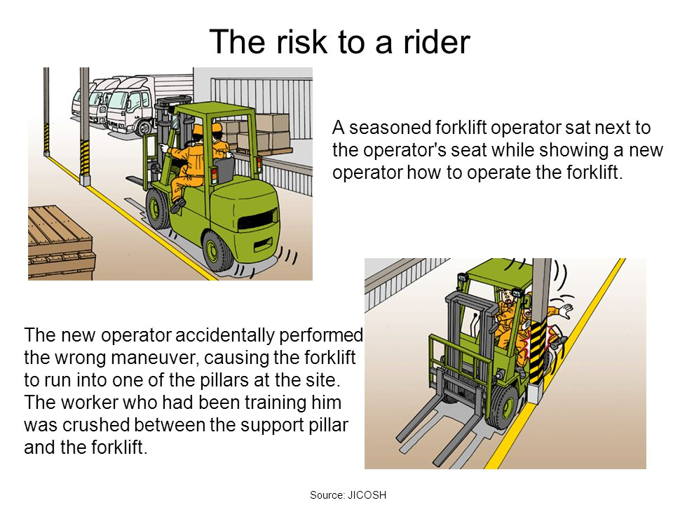 The risk to a rider A seasoned forklift operator sat next to the operator's seat while showing a new operator how to operate the forklift. The new ope