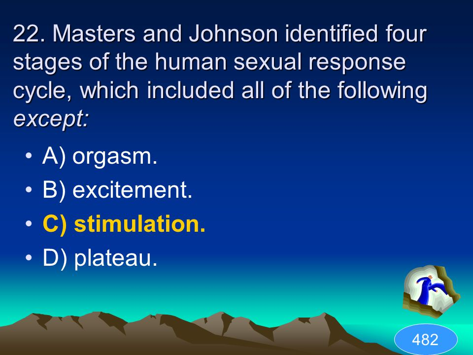 22. Masters and Johnson identified four stages of the human sexual response cycle, which included all of the following except: A) orgasm. B) excitemen