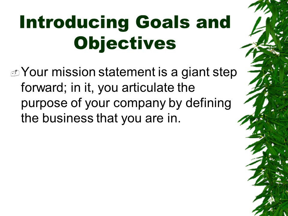 Introducing Goals and Objectives  Your mission statement is a giant step forward; in it, you articulate the purpose of your company by defining the b