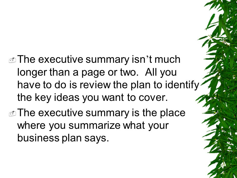  The executive summary isn ' t much longer than a page or two. All you have to do is review the plan to identify the key ideas you want to cover.  T