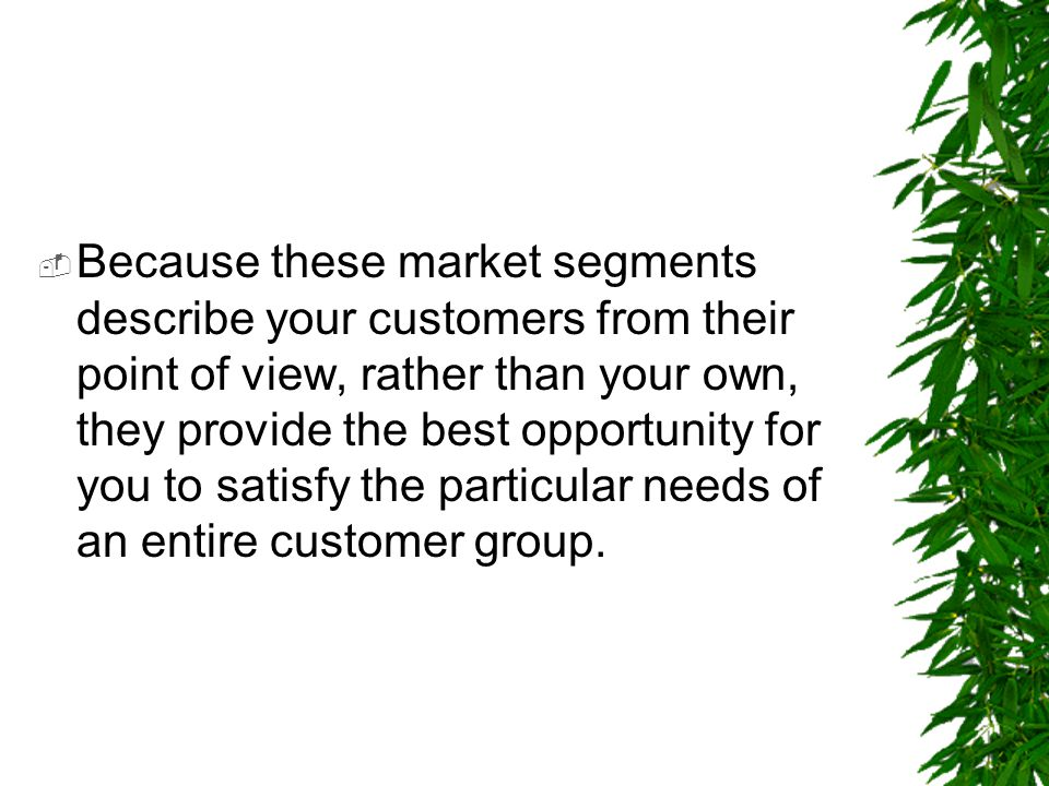  Because these market segments describe your customers from their point of view, rather than your own, they provide the best opportunity for you to s