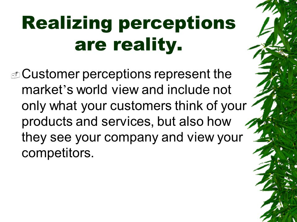 Realizing perceptions are reality.  Customer perceptions represent the market ' s world view and include not only what your customers think of your p