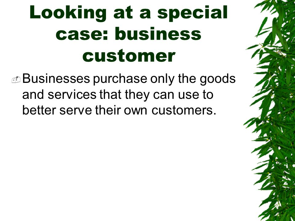 Looking at a special case: business customer  Businesses purchase only the goods and services that they can use to better serve their own customers.