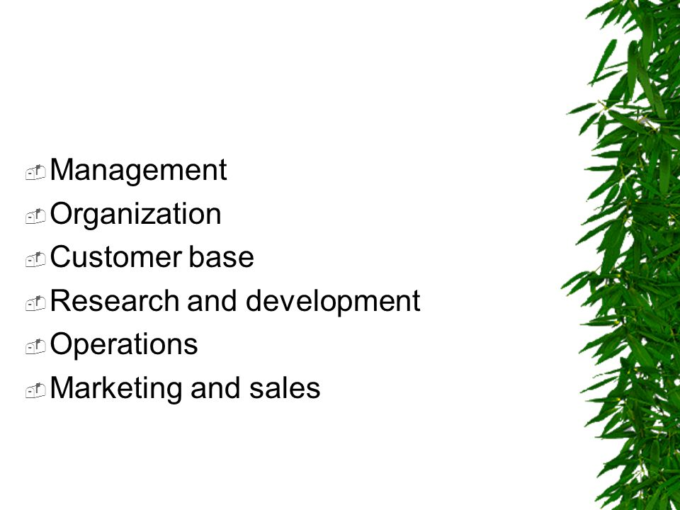  Management  Organization  Customer base  Research and development  Operations  Marketing and sales