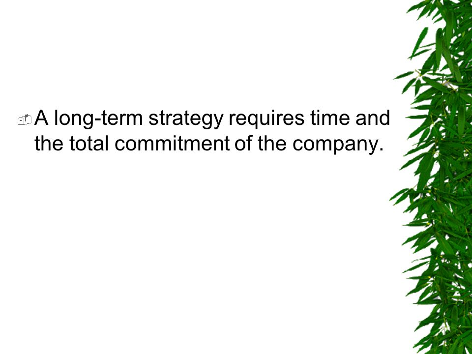  A long-term strategy requires time and the total commitment of the company.