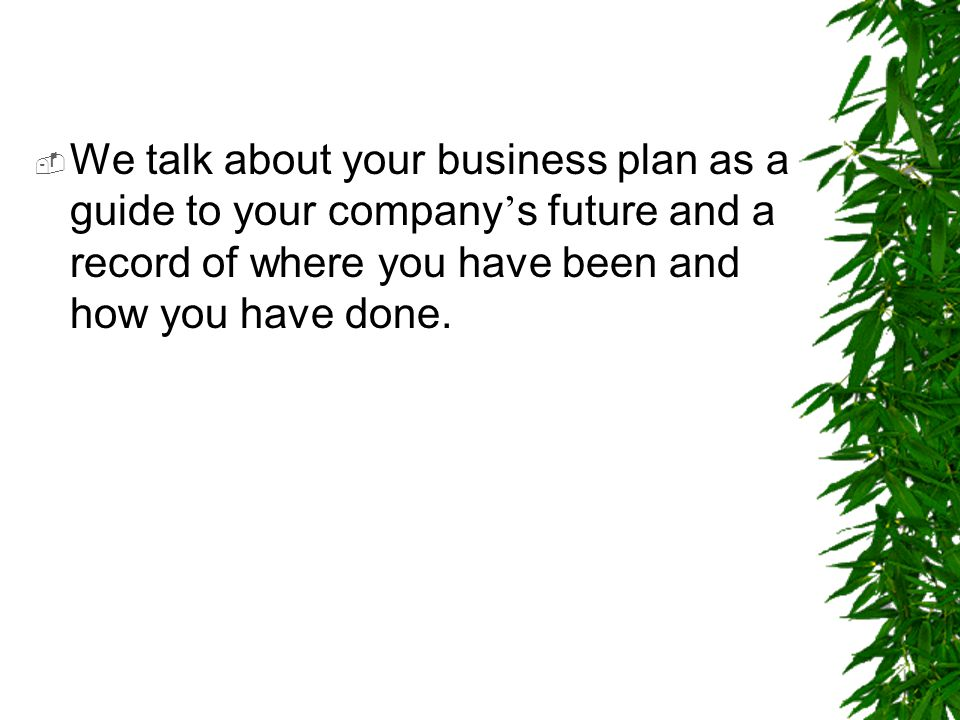  We talk about your business plan as a guide to your company ' s future and a record of where you have been and how you have done.