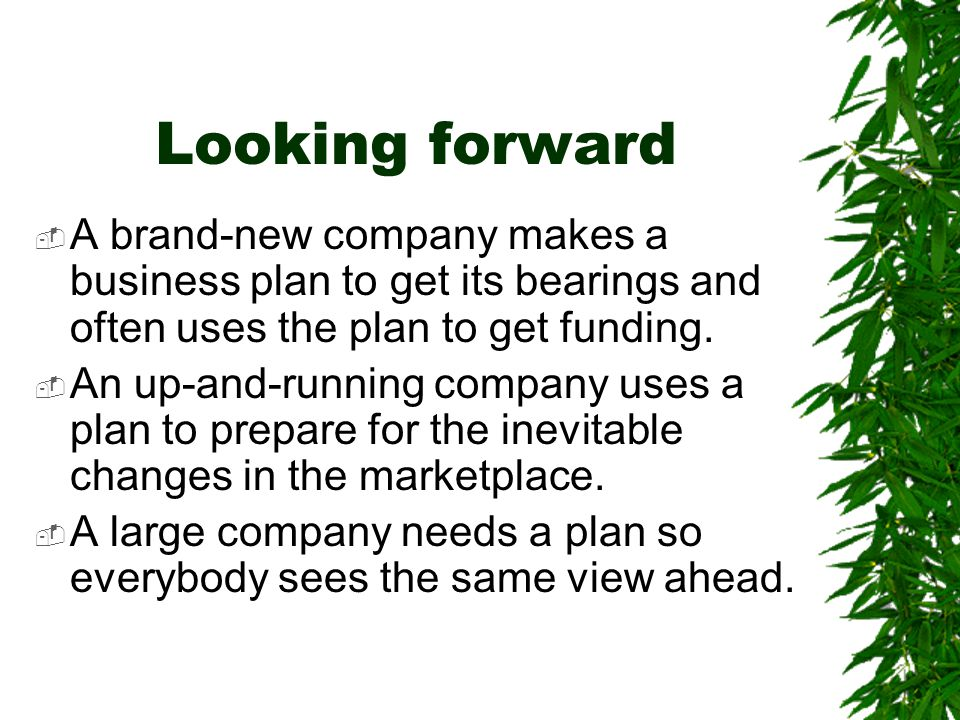 Looking forward  A brand-new company makes a business plan to get its bearings and often uses the plan to get funding.  An up-and-running company us