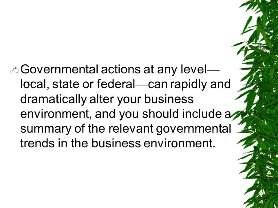  Governmental actions at any level — local, state or federal — can rapidly and dramatically alter your business environment, and you should include a