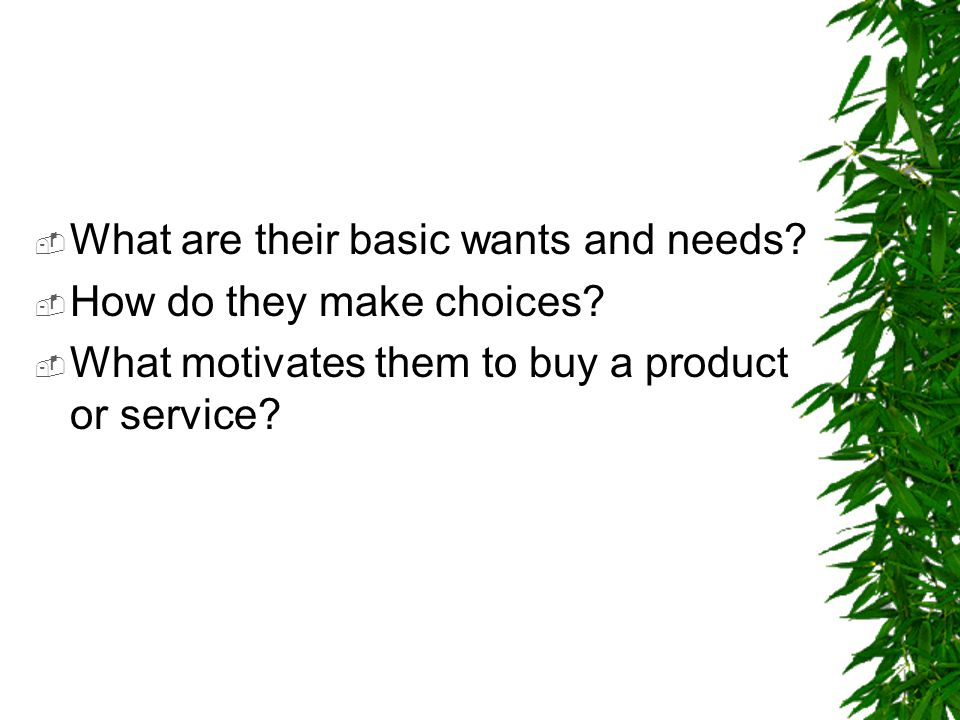  What are their basic wants and needs?  How do they make choices?  What motivates them to buy a product or service?