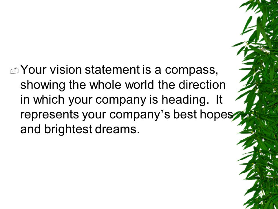  Your vision statement is a compass, showing the whole world the direction in which your company is heading. It represents your company ' s best hope