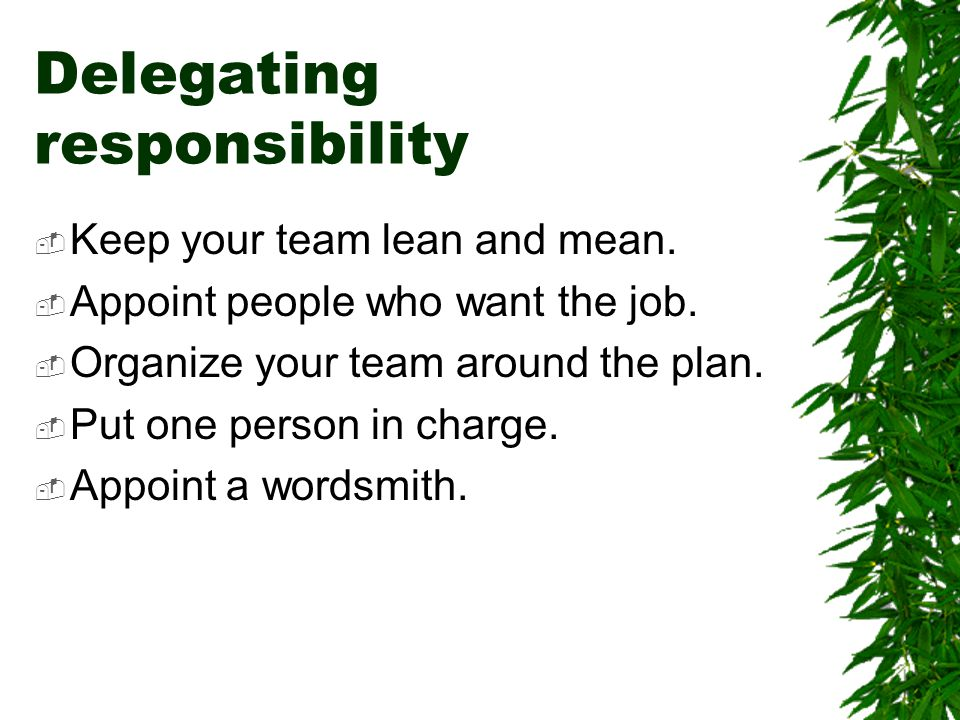Delegating responsibility  Keep your team lean and mean.  Appoint people who want the job.  Organize your team around the plan.  Put one person in