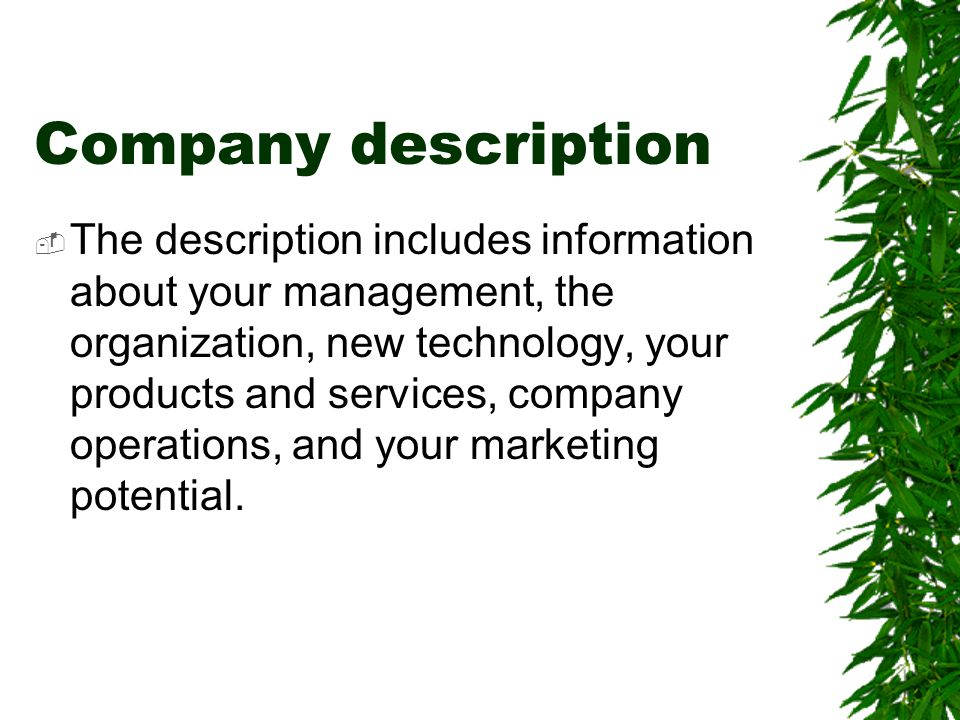 Company description  The description includes information about your management, the organization, new technology, your products and services, compan