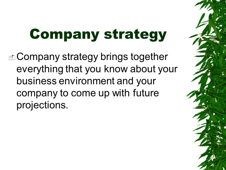 Company strategy  Company strategy brings together everything that you know about your business environment and your company to come up with future p