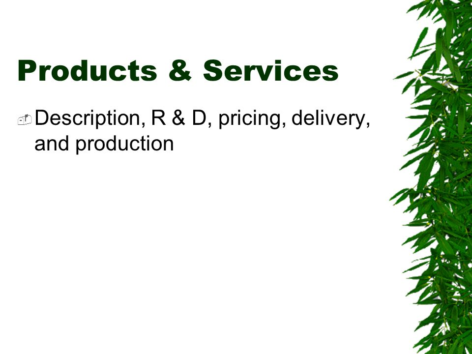 Products & Services  Description, R & D, pricing, delivery, and production