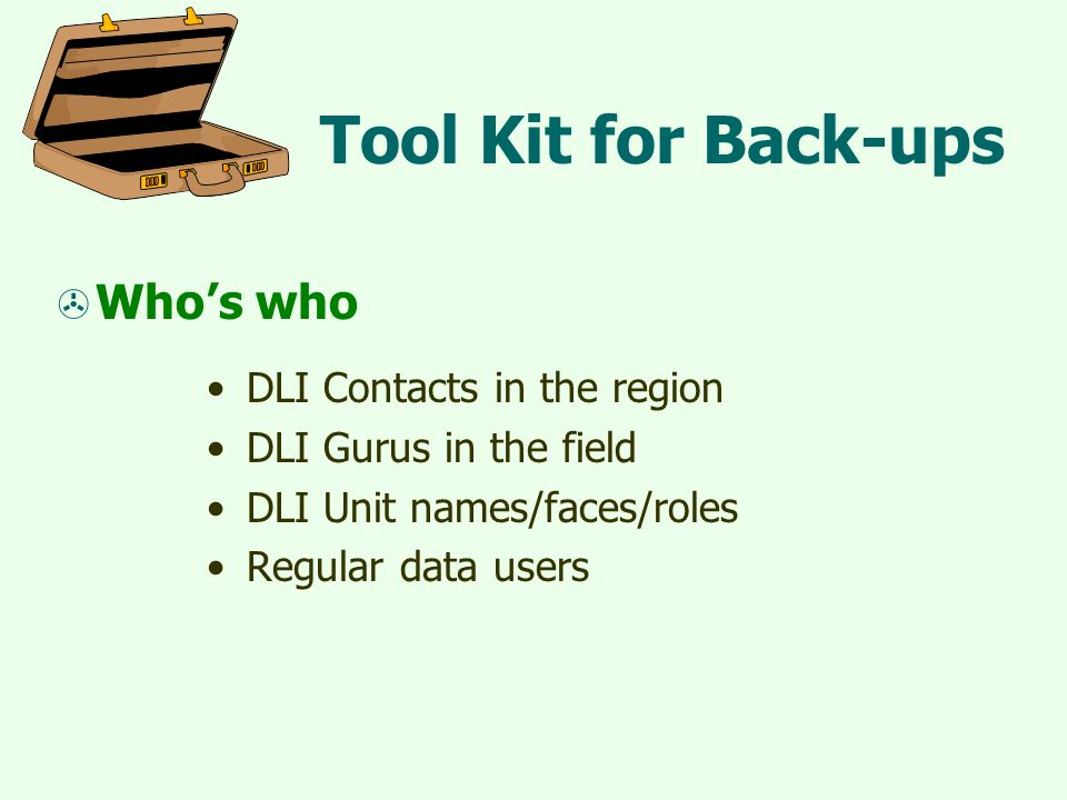Tool Kit for Back-ups  Who's who DLI Contacts in the region DLI Gurus in the field DLI Unit names/faces/roles Regular data users