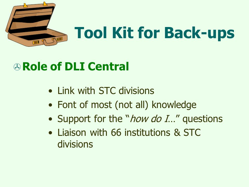 Tool Kit for Back-ups  Role of DLI Central Link with STC divisions Font of most (not all) knowledge Support for the how do I… questions Liaison with 66 institutions & STC divisions